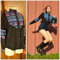 Vintage 1990s Western arrow head Black Long Sleeve Button Down Geometric Tribal Print Pink Blue Small Medium by Banjo