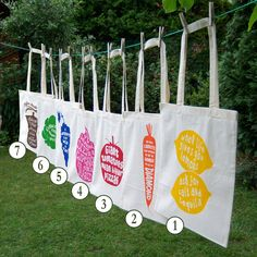 Set of 2 Organic & Fair Trade Eco Friendly Grocery Tote Bags Screen Print Natural Cotton - Choose any two. $24.00, via Etsy.