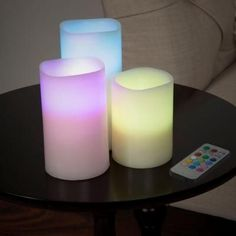Lavish Home 3 Piece LED Color Changing Flameless Candle - Tanga Flameless Candles With Remote, Votive Candles, Candle Wicks, Battery Candles, Candleholders, Wood Floating Shelves, Home Candles, Color Changing Led, Candle Set