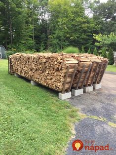 Firewood stacking racks holds 1 cord per row Made with 3 cinder blocks 4 and 2 cut in half length wise for ends Total cost per rack 1800 Outdoor Firewood Rack, Firewood Holder, Firewood Shed, Firewood Storage, Stacking Firewood, Wood Storage Rack, Stacking Wood, Easy Storage, Outdoor Storage