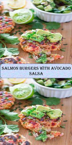 Salmon Burgers with Avocado Salsa Salmon Burgers, Salsa, Juice, Avocado, Roast, Tacos, Ethnic Recipes, Sweet, Food