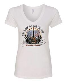 Standin' on the Corner Ladies Sueded V-neck T-shirt
