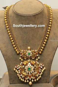 Antique Gold Balls Necklace with Polki Pendant