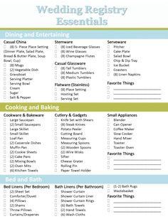 Wedding Gift Ideas If No Registry : Crafting the Perfect Bridal Registry Wedding Registry Checklist