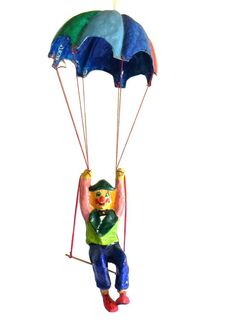 Paper Mache Hanging Mobile Circus Clown Figure Whimsical Hand Crafted Vtg Blue #Unknown