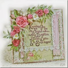 """As I slowly but surely work my way back to a """"regular"""" posting schedule, today I have another Lili of the Valley card tha. Pretty Cards, Cute Cards, Diy Cards, Motif Vintage, Shabby Vintage, Decoupage, Mixed Media Cards, Shabby Chic Cards, Beautiful Handmade Cards"""
