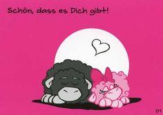 Olaf das Grummelschaf und Poppy Postkarte mit lustigen Sprüchen – Schön, dass es Dich gibt! Postkarten Liebe