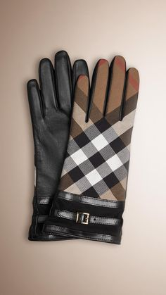 Burberry House Check and Leather Touch Screen Gloves | Black | | Elegant nappa leather gloves with check panel | Embedded with micro-conductors for use with iPhones and other touch screen technology | Silk lining