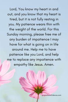 Sunday Morning Prayer, Morning Love Quotes, Morning Inspirational Quotes, Morning Prayers, Prayers Of Gratitude, Spiritual Prayers, Bible Prayers, Patience Prayer, Prayers For Patience