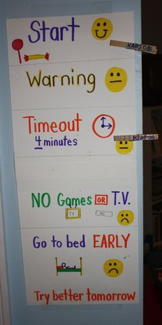 Toddler/Preschool Discipline System - Great for children to see pictures during the years they can not read. This lets the children see where they are during the day and where they SHOULD be.