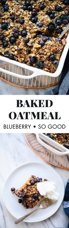 This baked oatmeal recipe is the best! It features blueberries (or any fruit you'd like), maple syrup, wholesome oats, nuts and warming spices.