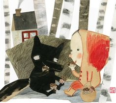 manon gauthier: Little Red Riding Hood / Le petit chaperon rouge Illustration Inspiration, Children's Book Illustration, Food Illustrations, Little Red Ridding Hood, Red Riding Hood, Wolf, Kitty Crowther, Charles Perrault, Psychedelic Drawings