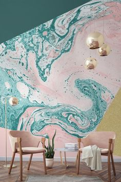 We love this blush pink, marble and gold combination on this geometric wall mural. Forest green melts into a pastel pink, giving a stark yet intriguing contrast of colours. L Wallpaper, Glitter Wallpaper, Amazing Wallpaper, Wallpaper Ideas, Marble Wallpapers, Bedroom Wallpaper, Modern Wallpaper, Deco Rose, Interior And Exterior