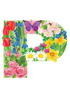 The Letter P ~ Spring Garden Alphabet Birthday Logo, Flower Letters, Alphabet And Numbers, All Flowers, Spring Garden, Diy And Crafts, Balloons, Clip Art, Lettering
