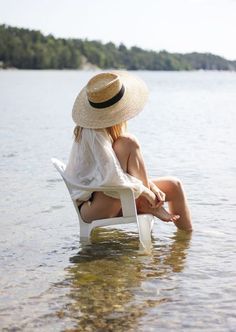When it's really hot, I like to take a chair a ways in the water and just sit there and gaze at the lake..........................
