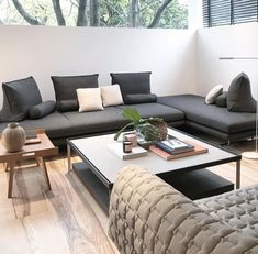 Prado bench seating by Christian Werner for shown in mono chrome Ligne Roset Sofa, Gray Sofa, Prado, Living Room Sofa, Dining Furniture, Contemporary Furniture, Home Accessories, Chrome, Bench