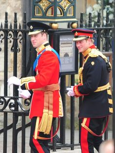 Prince William and his best man, Prince Harry, entering Westminster Abbey for William's wedding on April 29, 2011
