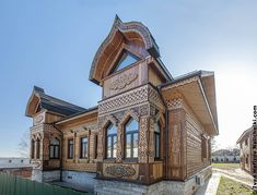 A restored old-fashioned wooden house