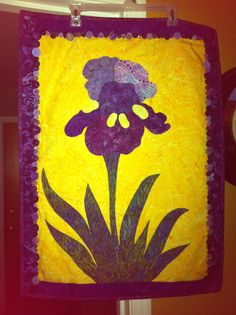 Iris Festival Banner...appliqué, quilted, and vintage button embellishment.