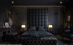 Black Bedroom Design, Black Bedroom Decor, Luxury Bedroom Design, Modern Bedroom, Home Interior Design, Bedroom Ideas, Interior Office, Modern Interior, Master Bedroom