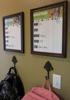 Wall organization for school... add wall pockets for papers