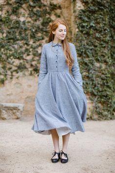 Fashion Line, Modest Fashion, Vintage Dresses, Vintage Outfits, Chic Outfits, Fashion Outfits, Womens Linen Clothing, Full Circle Skirts, Feminine Dress
