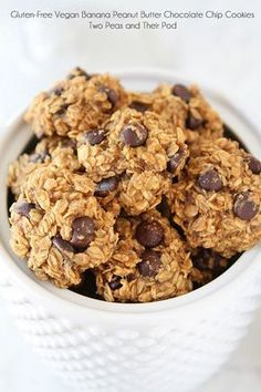 Gluten-Free Vegan Banana Peanut Butter Chocolate Chip Cookie Recipe on http://twopeasandtheirpod.com Healthy cookies have never tasted so good!