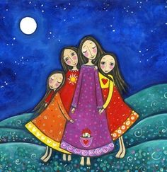 Four Sisters Art Print Inspirational Whimsical Folk Art 'Sisters In All Lifetimes'