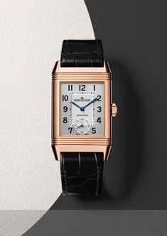 The @jlcwatches Reverso Classic Large Duo (shown in pink gold) comes in a 47 mm x 28.3 mm x 11.6 mm. On the front is a silver-toned, vertical brushed and guilloché dial with black transferred numerals, with blued baton hands.  For the full story, visit http://www.watchtime.com/wristwatch-industry-news/watches/sihh-2016-preview-jaeger-lecoultre-85th-anniversary-reversos/ #jaegerlecoultre #watchtime #menswatches #SIHH2016