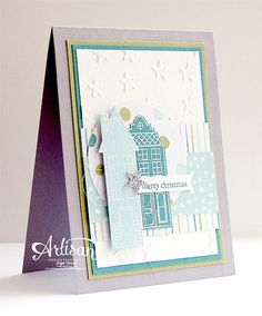 Holiday Home stampset, Holiday Day Home Framelits, All is Calm DSP, Lucky Stars embossing folder, Christmas - Inge Groot-