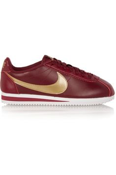 Rubber sole measures approximately 30mm/ 1 inch Burgundy and gold leather Lace-up front Designer color: Team Red/ Metallic Gold-White