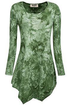 DJT Damen Langarmshirt Asymmetrisch T-Shirt Stretch Longshirt # D156T17 Tie-Dye Gruen L