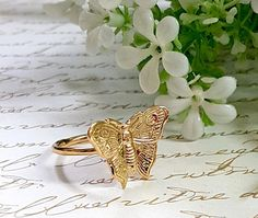Gold Butterfly Ring, Dainty Gold Ring, Gold #jewelry #ring @EtsyMktgTool #goldbutterflyring #daintygoldring #goldstackablering