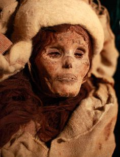 """The Beauty of Xiaohe, a 3,800-year-old mummy discovered in the Tarim Basin in far western China, is shown at the """"Secrets of the Silk Road: Mystery Mummies from China"""""""