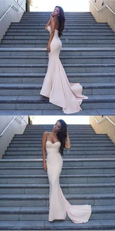 Gorgeous Mermaid Long Strapless Evening Dress Prom #Dress Bridesmaid Dress with Train
