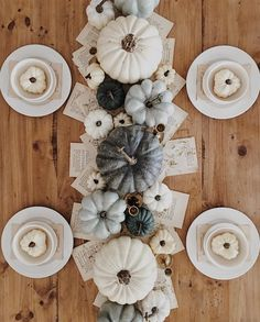 Farmhouse style fall tablescape with book pages!