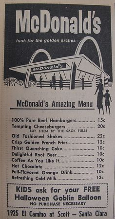 McDonald's Menu 1962 Ad