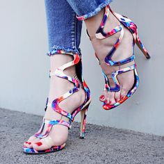 Multi Canvas Cut Out Clear Accent Open Toe Single Sole High Heels High Heel Pumps, Pumps Heels, Stiletto Heels, Spring Shoes, Summer Shoes, Floral Heels, Prom Shoes, Womens High Heels, Open Toe