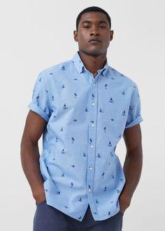 Camisa slim-fit oxford estampada | MANGO MAN
