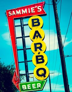 Retro Art,  BBQ Sign, Restaurant, Red and Yellow, Vintage Sign, Fort Worth Texas, Typography, Neon Signs, Kitchen Decor, Abstract Art, Food on Etsy, $50.00