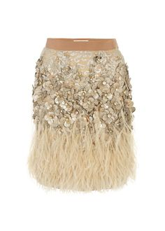 Matthew Williamson Lacquer Lace Feather Skirt