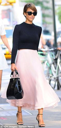 Pale pink a line skirt
