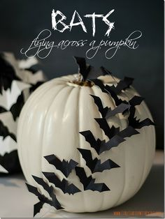 Bats on a pumpkin - Would be cute with spiders too!