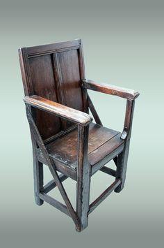 Rare plain panelled Tudor armchair, circa 1520 - 1540, Marhamchurch antiques