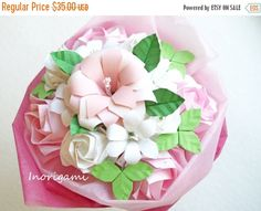 30%OFF-SpringSale Origami Flower Art  Bouquet / Pale by Inorigami