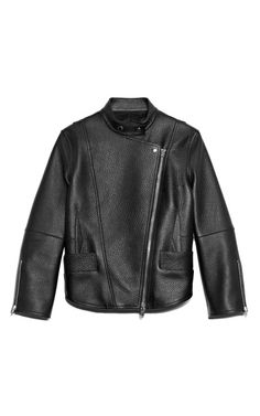 Shop Heavyweight Pebbled Cow Cropped Biker Jacket With Exposed Darting Detail by Alexander Wang for Preorder on Moda Operandi