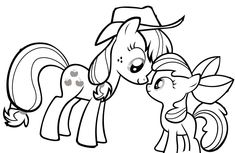 My Little Pony Looking At Each Other Coloring Page: My Little Pony
