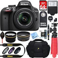 Nikon D3300 24.2 MP DSLR Camera  AF-S DX 18-55mm VR II Lens Kit  Accessory Bundle 64GB SDXC Memory  SLR Photo Bag  Wide Angle Lens  2x Telephoto Lens  Flash  Remote  Tripod  Filters (Black)