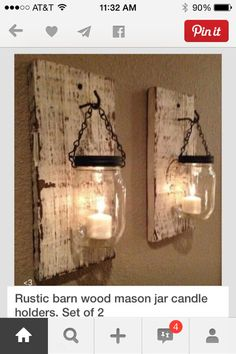 Gray barn wood mason jar sconce by Thesalvagednail on Etsy