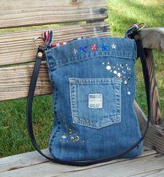 Upcycled Jeans Denim Handbag  Stars & Stripes by cheekersdenim, $30.00